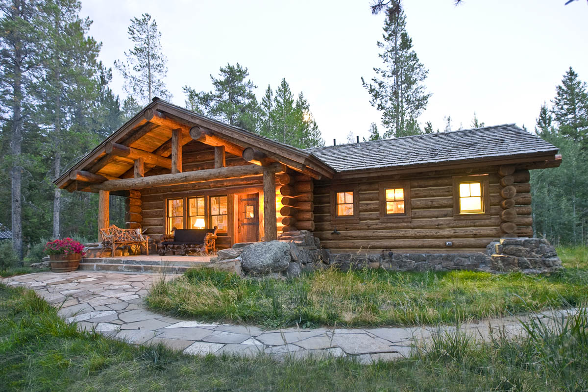Log Home In The Woods ~ Lost creek cabin teton heritage builders