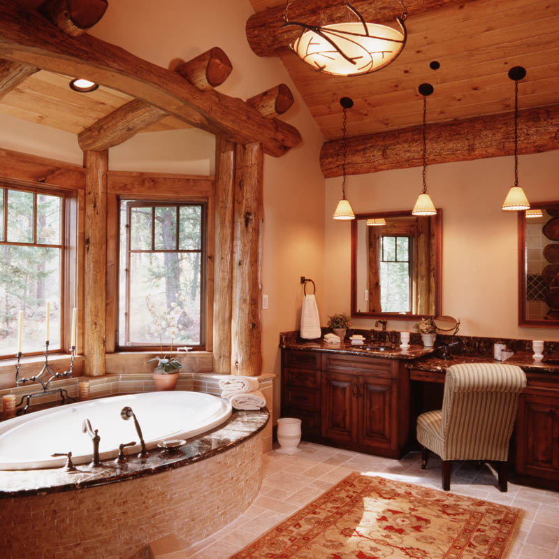 Granite ridge log cabin teton heritage builders for Log cabin bathroom pictures