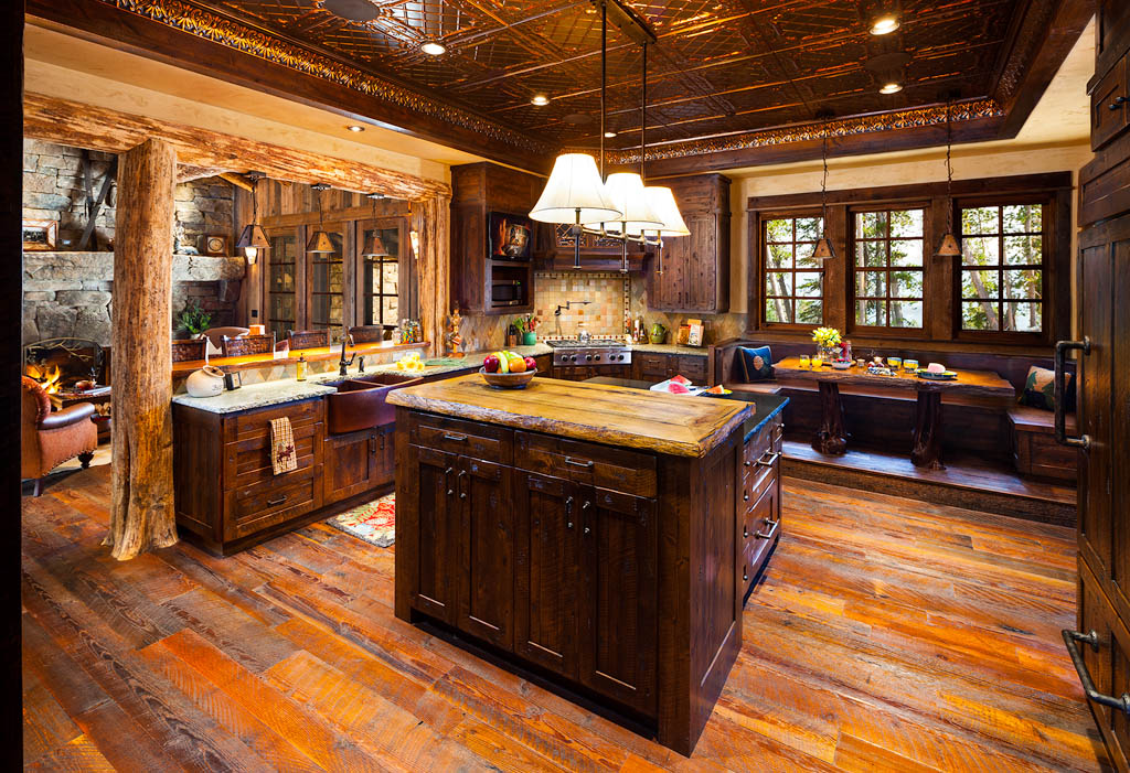 Luxury big sky log cabins published in big sky journal home magazine teton heritage builders Log home kitchen design ideas
